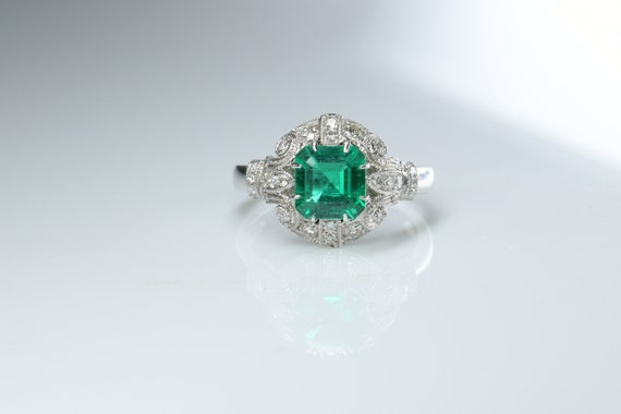 No Oil Colombia Emerald Diamond Ring AGL Certific… - image 7