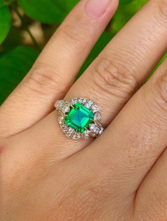 No Oil Colombia Emerald Diamond Ring AGL Certific… - image 2