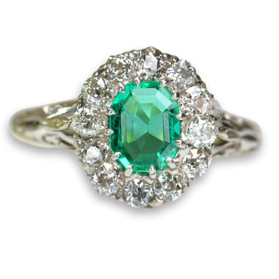 Antique Emerald Diamond Ring | Natural Emerald wi… - image 7