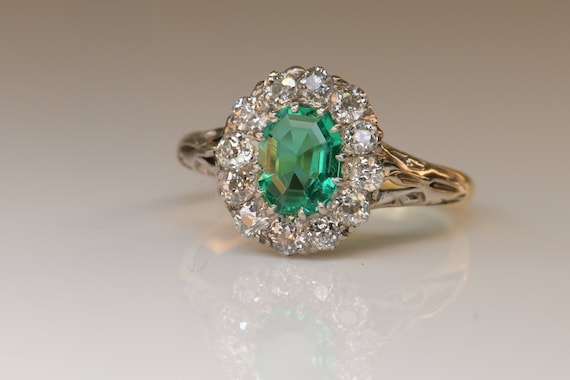 Antique Emerald Diamond Ring | Natural Emerald wi… - image 4