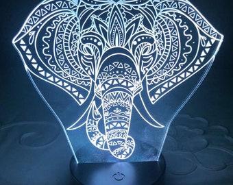 Elephant decor Personalised led light stand laser engraved on acrylic, photo, home decor, kids decor, custom, multi colour led
