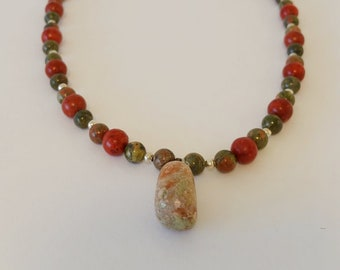 Beaded necklace Boho necklace Pendant necklace Red coral necklace Green unakite necklace Birthday gift Jewelry Accessories Green Necklace