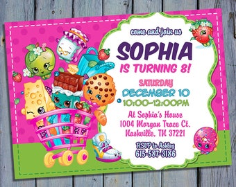 Shopkins Party Invite, Shoppies Birthday Card Invitation, Shopkin Shoppie  Printable, Shopville Digital Invitations, Custom Printables
