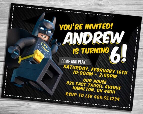 Lego Batman Invitation Superhero Movie Birthday Party Lego Etsy