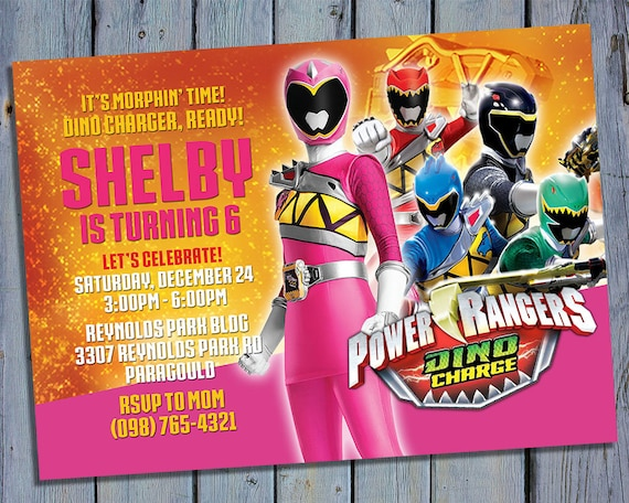 Pink Ranger Birthday Invitation Power Ranger Pink Party Card Etsy