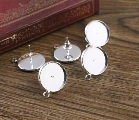20pcs Silver Metal Color Brass Ear Studs Setting Nickel Free Blank Pad Tray 12mm