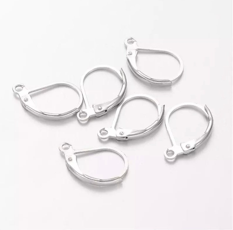 100 PCS Silver Plated Copper French Earring Hook Lever Back Earwires Jewelry Findings//Earring Making Supplies Kit with Earring Hooks,Earring Backs,Earrings Posts