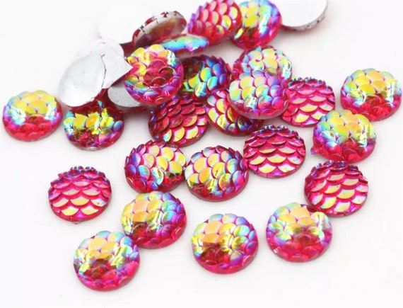 50pcs 12mm Heart Mermaid Fishscale Flatback Resin Cabochons DIY Craft Pink