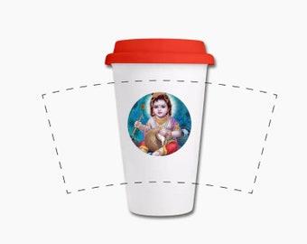 Babykrishna Mug Krishna Mug Krishna Thermo Cup ceramic Thermo Cup with silicone lid