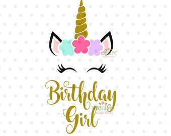 Unicorn SVG Birthday Svg Girl Face Horn For Cricut And Silhouette