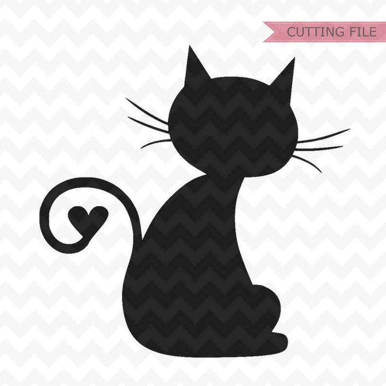 Download Cat SVG cat heart tail svg cat with heart svg files for | Etsy