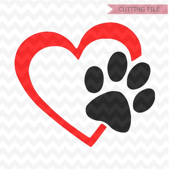 Paw Print Svg Cut Files Paw Print And Heart Svg Files And Png Etsy