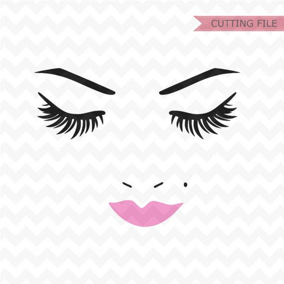 Kiss And Makeup Svg: Woman Face Svg Eyelashes Svg File Eyebrows SVG Instant
