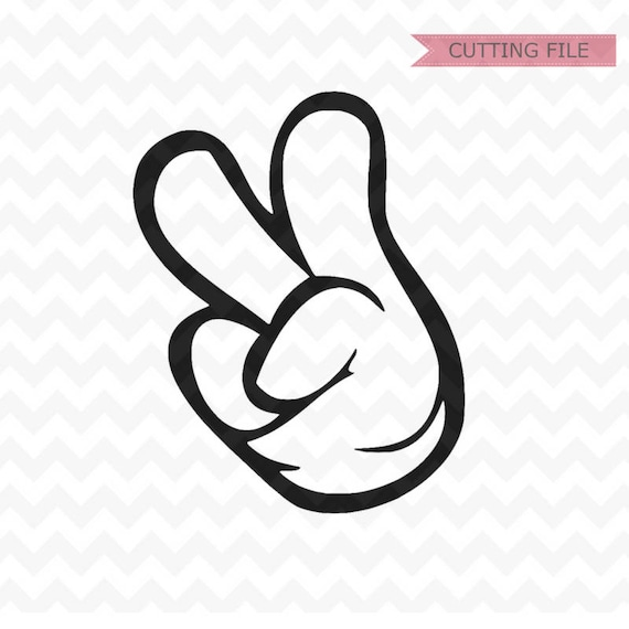 Mickey Mouse Two dles hand svg Mickey and Minnie Peace Hands   Etsy