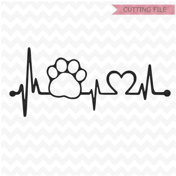 Paw Print Heartbeat Svg Cut Files Dog Paw Print And Heart Svg Etsy