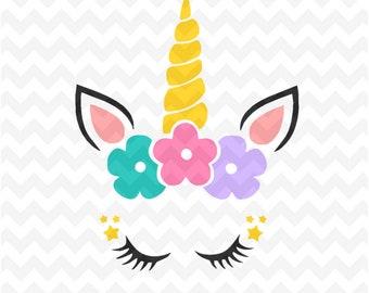 Unicorn SVG, Unicorn flower horn svg Cut files, Unicorn svg and PNG instant download, Cute unicorn svg, cricut silhouette unicorn file