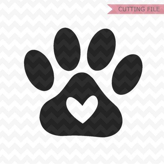 Paw Print Svg Cut Files Paw Print With Heart Svg File And Png Etsy