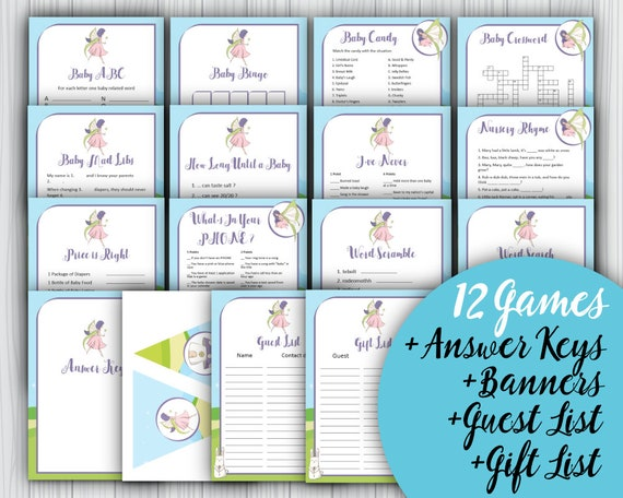 12 Printable Fairies Baby Shower Games Answer Keys Banners Etsy