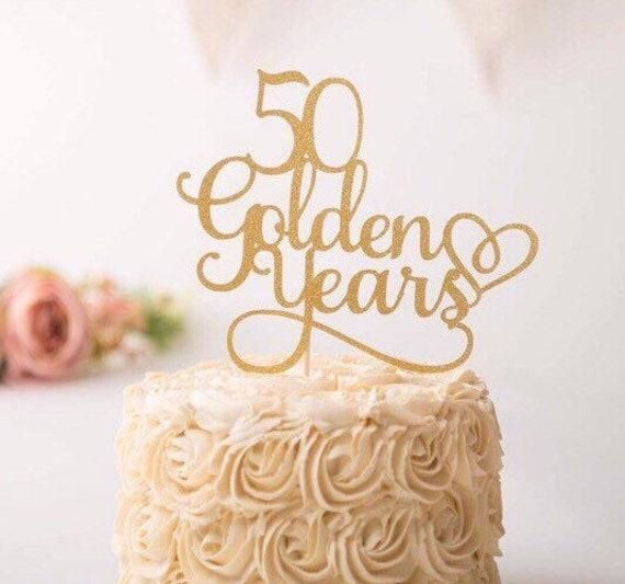 50 Goldene Jahre Cake Topper Goldene Hochzeit Jahrestag Kuchen Topper 50 Goldene Jahre 50 Hochzeitstag