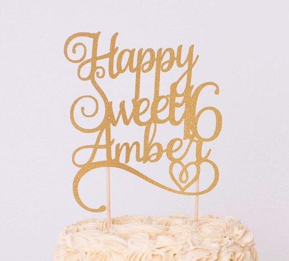 Surprising Sweet Sixteen Cake Topper Personalised Sweet 16 Cake Topper Etsy Personalised Birthday Cards Epsylily Jamesorg