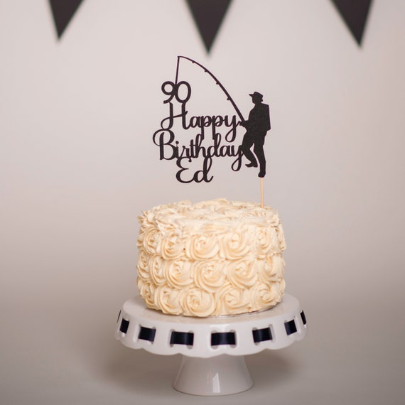 Fishing Cake Topper Personalised Male