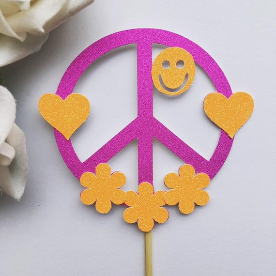 Personalised Peace Sign 60s 70s Hippy Love Edible Icing Birthday Cake Topper
