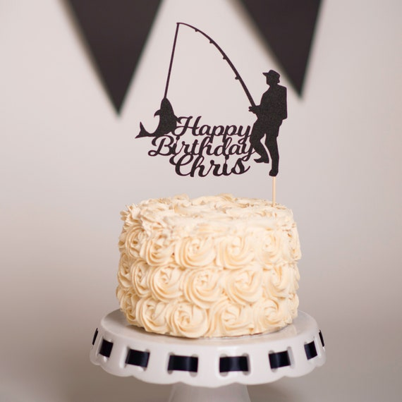 Surprising Fishing Cake Topper Personalised Fishing Cake Topper Etsy Funny Birthday Cards Online Eattedamsfinfo