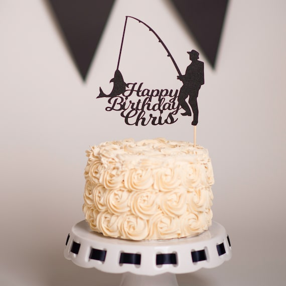 Astounding Fishing Cake Topper Personalised Fishing Cake Topper Etsy Funny Birthday Cards Online Elaedamsfinfo