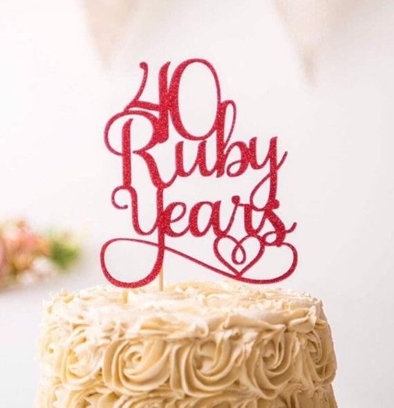 40 Ruby Years Wedding Anniversary Cake Topper