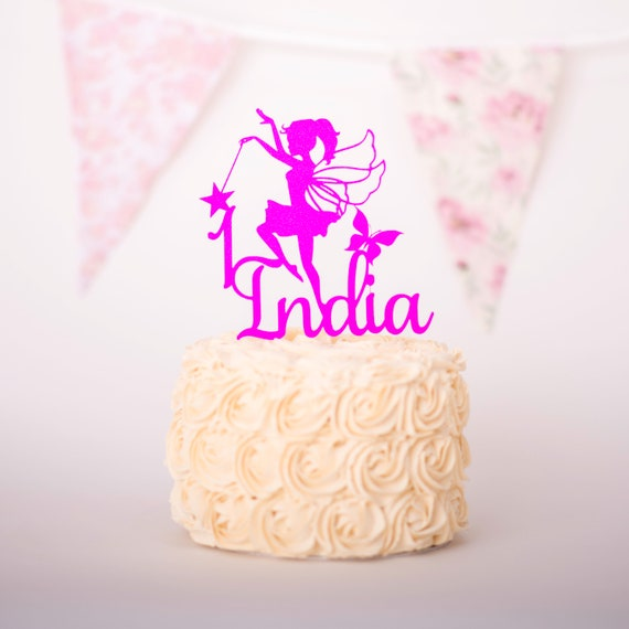 Incredible Fairy Birthday Cake Topper Personalised Fairy Cake Topper Etsy Funny Birthday Cards Online Overcheapnameinfo