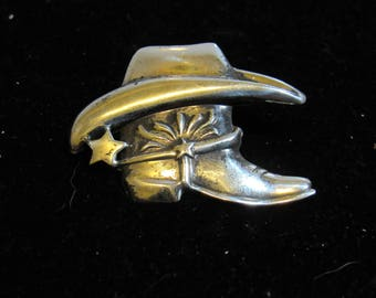 cowboy hat on boot pin marked 925