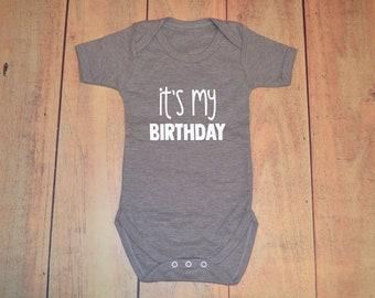 "It's My Birthday Baby Vest - 100% Cotton Personalised Short Sleeve Birthday Body  - ""IT'S MY BIRTHDAY"""