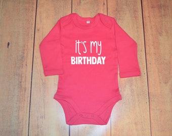 "It's My Birthday Baby Vest - Organic Cotton Personalised Long Sleeve Body - ""It's My Birthday"""