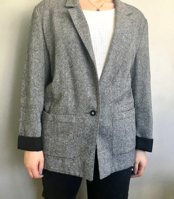 Oversized Gray and Black Blazer / Women's Vintage