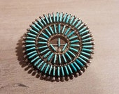 Vintage Sterling Silver Turquoise Zuni Needlepoint Pin Brooch by D.L. Bellson