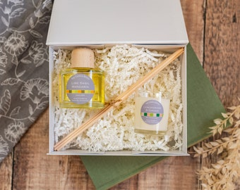 Gift set candle & diffuser in magnetic box, mix and match scents