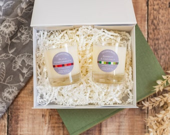 Gift set 2 medium candles in magnetic box, mix and match scents