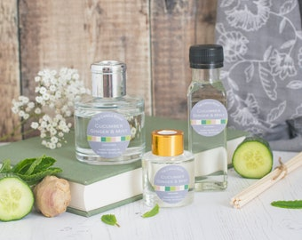 Cucumber Ginger and Mint reed diffuser; reed diffuser 100ml; reed diffuser 50ml; reed diffuser refill;