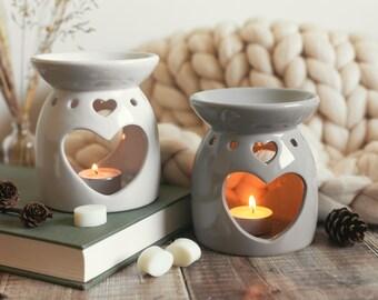 wax melt warmer, wax melt burner, oil burner - heart shape