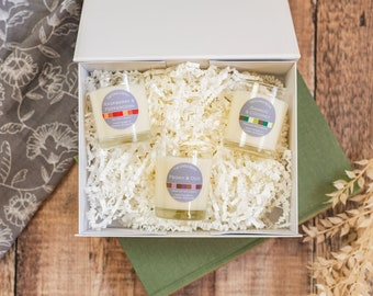 Gift set 3 small candles in magnetic box, mix and match scents
