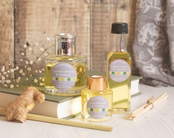 Lemongrass and Ginger reed diffuser; reed diffuser 100ml; reed diffuser 50ml; reed diffuser refill;