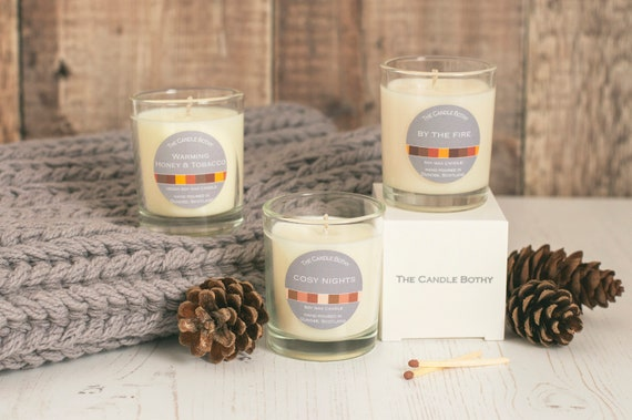 Autumn scents: soy wax candles; Warming Honey & Tobacco; Cosy Nights; By the Fire