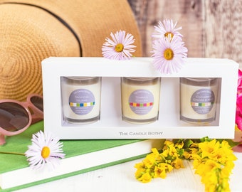 Summer candle gift set 3 votive candles. Mix and match candle gift set. Thinking of you gift