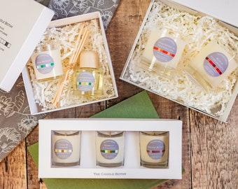 Gift sets: 5 options. Soy wax candle gift sets, candle and reed diffuser gift set, wax melt burner gift set