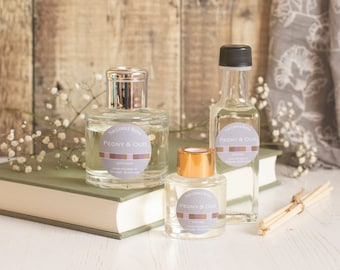 Peony and Oud reed diffuser; reed diffuser 100ml; reed diffuser 50ml; reed diffuser refill;
