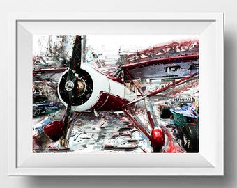 Airplane Wall Art, Race Car, Plane, Aircraft, Propeller, Airplane Propeller, Funny Car, Industrial Decor, Instant Download, Printable