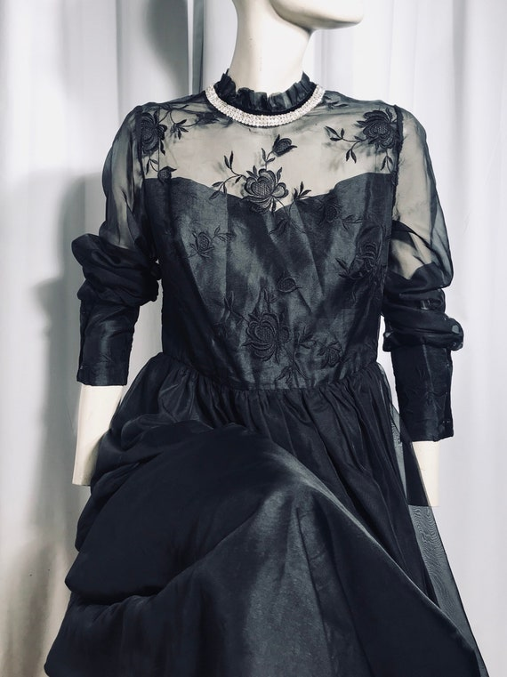 Bespoke Black Vintage Maxi Dress. Sheer Bodice with a Flower Embroidery. Diamonte Collar. Gothic. Victorian. Noir. Costume. Size ML