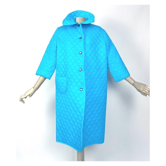 Vintage 60s/70s turquoise blue house coat by Brent