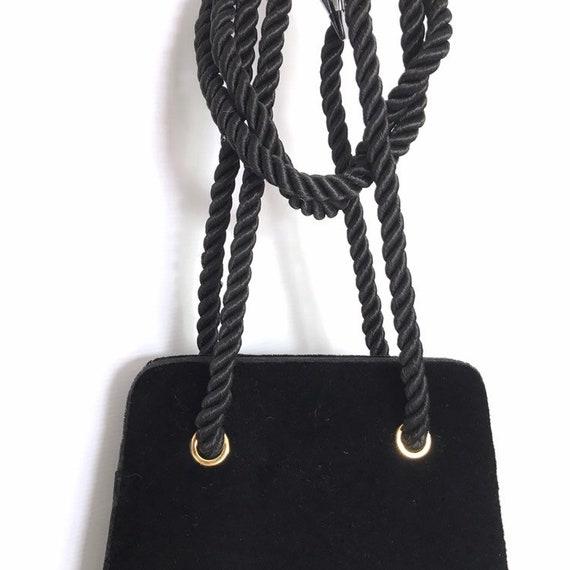 Vintage black velvet handbag with a rope strap by… - image 6