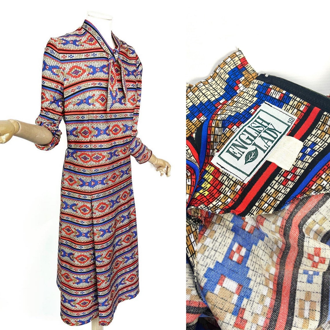 Colourful 70s/80s secretary style vintage dress. Vintage